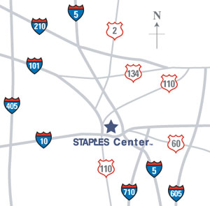 Freeway map around STAPLES Center